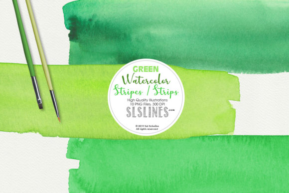 Print on Demand: Green Watercolor Headers and Strips Set Graphic Illustrations By SLS Lines - Image 1