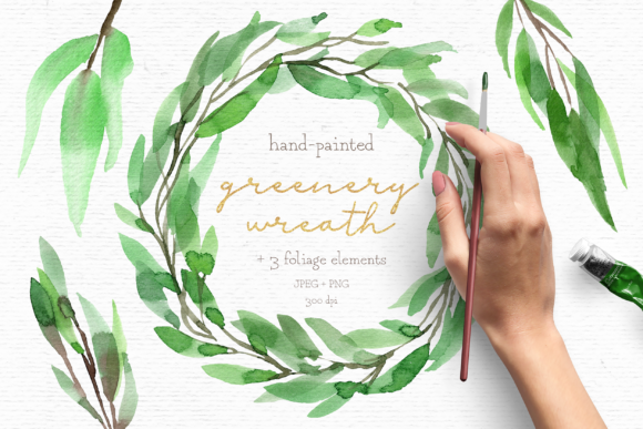 Print on Demand: Greenery Watercolor Wreath Clipart Pack Graphic Illustrations By Wallifyer