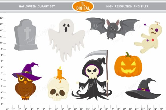Halloween Clipart Set - 9 Illustrations Graphic Illustrations By TL Digital