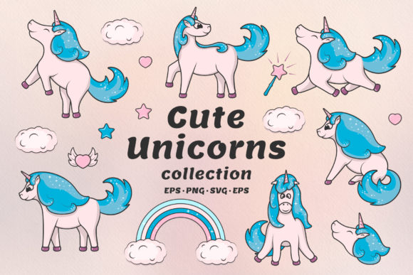 Hand Drawn Cute Unicorns Collection Graphic Illustrations By Kirill's Workshop
