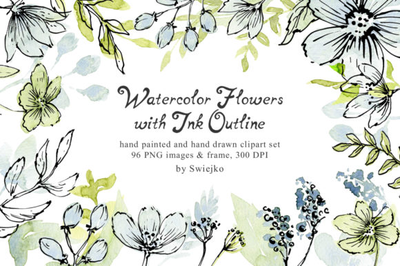 Print on Demand: Hand Painted Soft Flowers with Outline Graphic Illustrations By swiejko