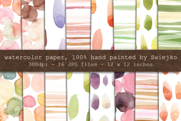 Print on Demand: Hand Painted Watercolor Backgrounds Graphic Illustrations By swiejko