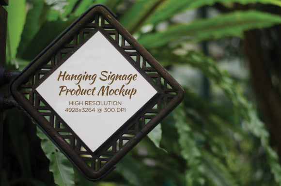 Print on Demand: Hanging Wooden Emblem Product Mockup Graphic Product Mockups By yumiguelgfxartshop - Image 1