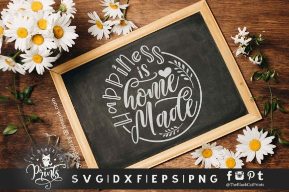 Download Free Happiness Is Homemade Graphic By Theblackcatprints Creative for Cricut Explore, Silhouette and other cutting machines.
