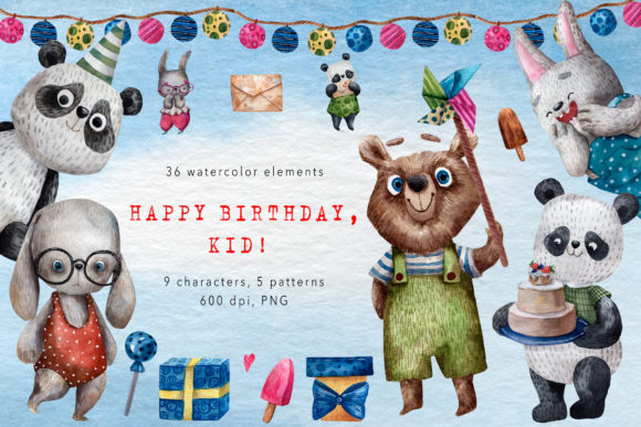 Happy Birthday, Kid! - Watercolor Set Graphic Illustrations By mashamashastu - Image 1