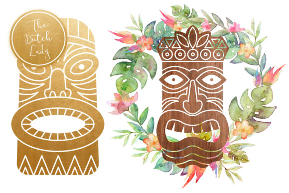 Hawaiian Tiki Mask Clipart Set Graphic By daphnepopuliers Image 3