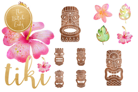 Hawaiian Tiki Mask Clipart Set Graphic By daphnepopuliers Image 5