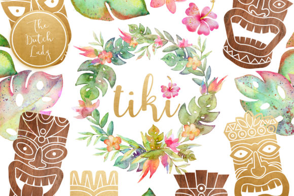 Hawaiian Tiki Mask Clipart Set Graphic By Daphnepopuliers