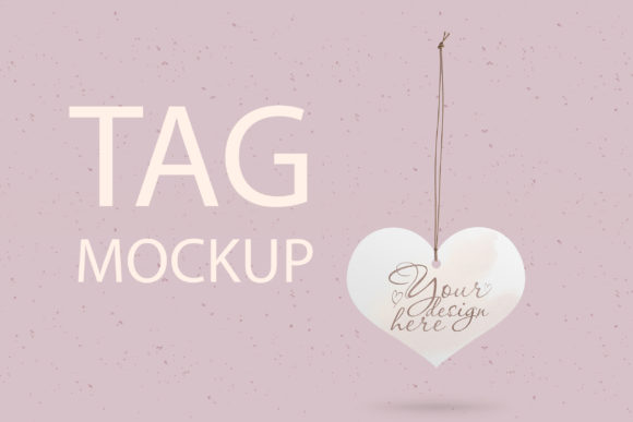 Print on Demand: Heart Wedding Tag Mockup Graphic Product Mockups By Natalia Arkusha - Image 1