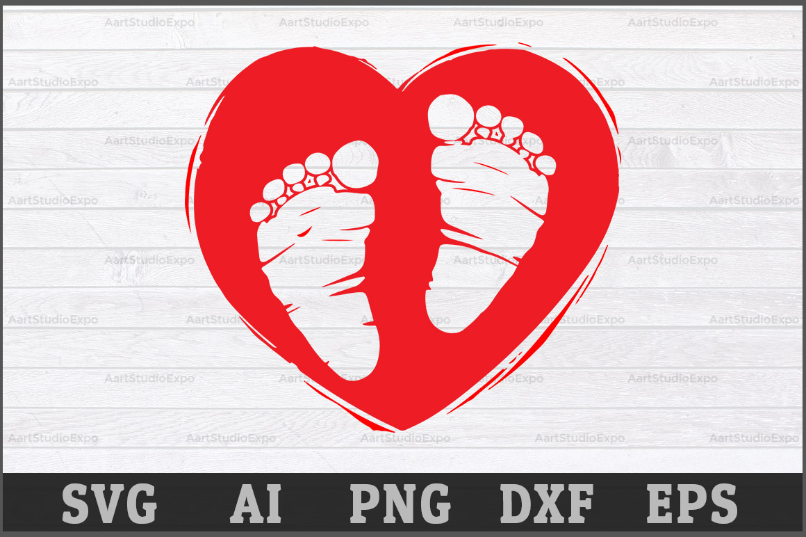 Download Free Heart With Baby Footprints Svg Graphic By Aartstudioexpo for Cricut Explore, Silhouette and other cutting machines.