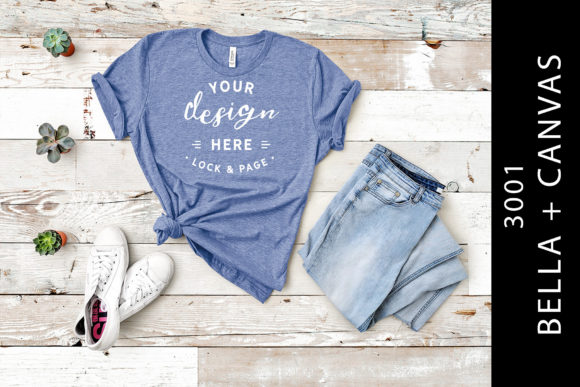 Heather Blue Bella Canvas 3001 Mockup Graphic Product Mockups By lockandpage