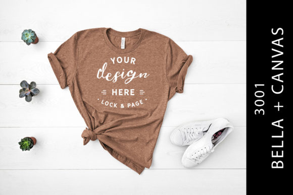 Heather Brown Bella Canvas 3001 Flat Lay Graphic By lockandpage