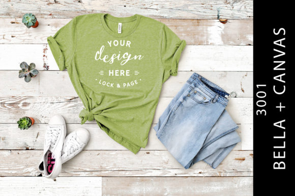 Heather Green Bella Canvas 3001 Mockup Graphic Product Mockups By lockandpage