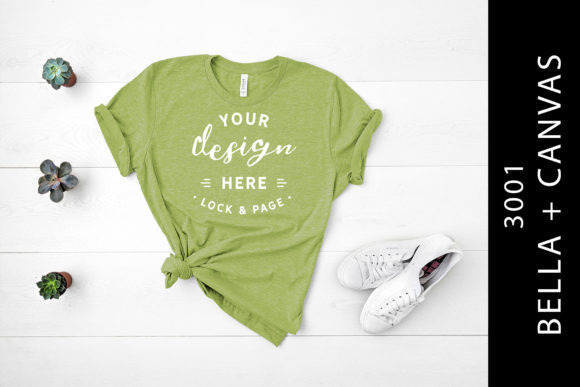 Heather Green Bella Canvas 3001 Mockup Graphic By lockandpage