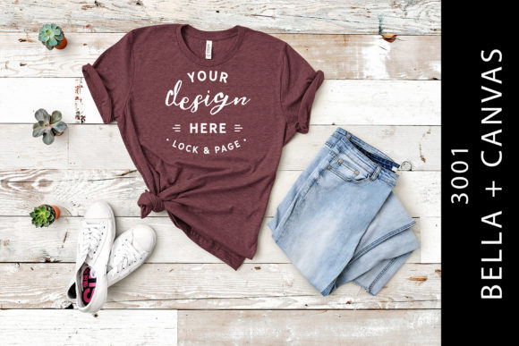 Heather Maroon Bella Canvas 3001 Mockup Graphic Product Mockups By lockandpage