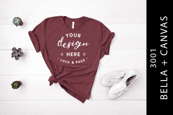Heather Maroon Bella Canvas 3001 Mockup Graphic By lockandpage
