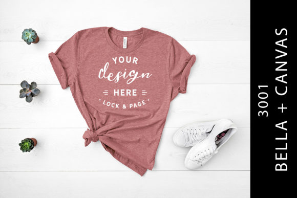 Heather Mauve Bella Canvas 3001 Flat Lay Graphic By lockandpage