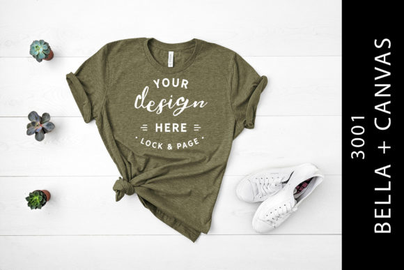 Heather Olive Bella Canvas 3001 Flat Lay Graphic By lockandpage