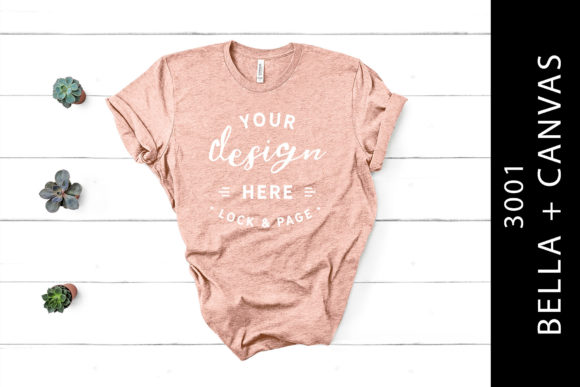 Heather Peach Bella Canvas 3001 Flat Lay Graphic Product Mockups By lockandpage
