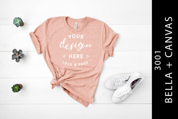Heather Peach Bella Canvas 3001 Mockup Graphic By lockandpage