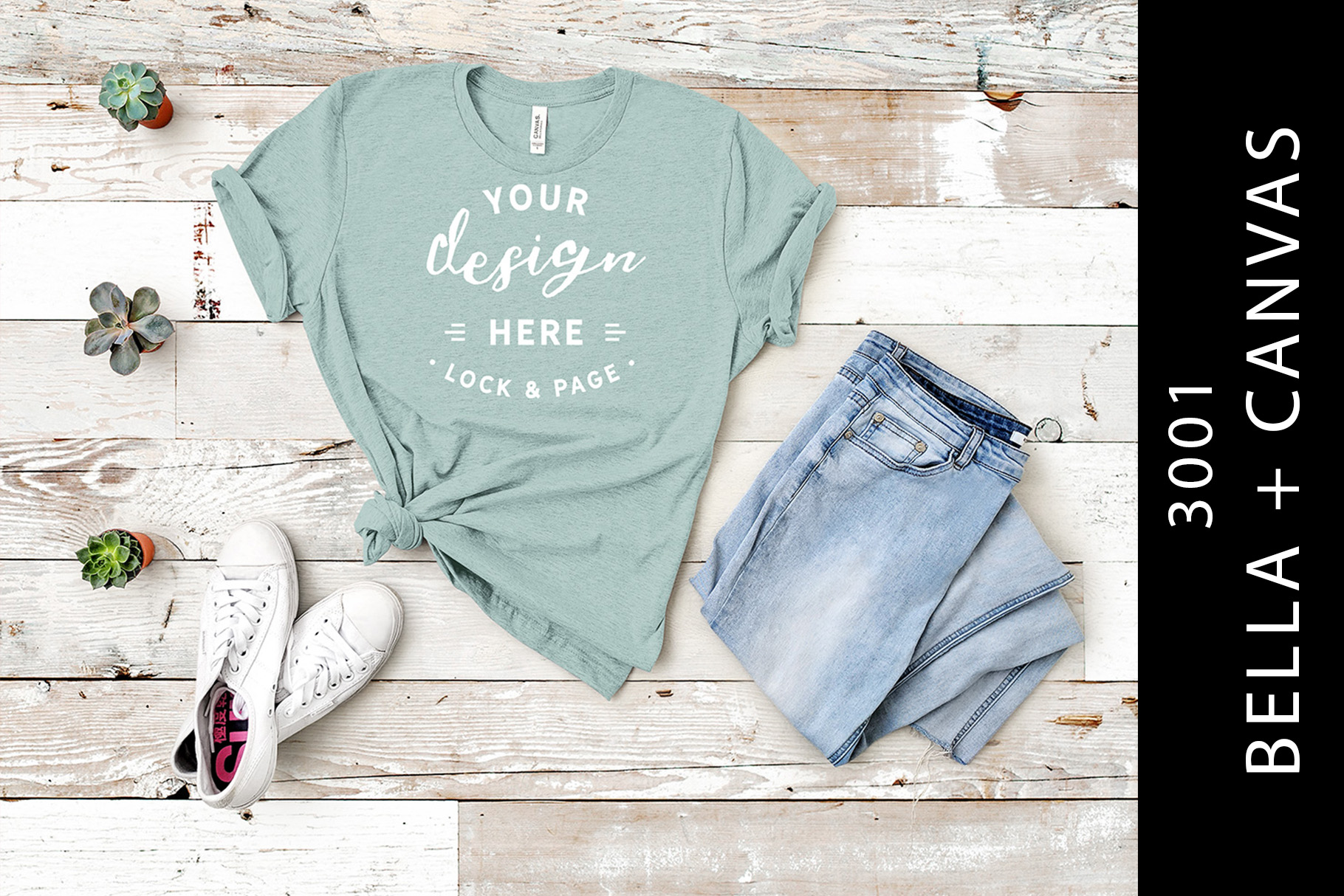 Download Free Heather Prism Dusty Blue Bc 3001 Mockup Graphic By Lockandpage Creative Fabrica for Cricut Explore, Silhouette and other cutting machines.