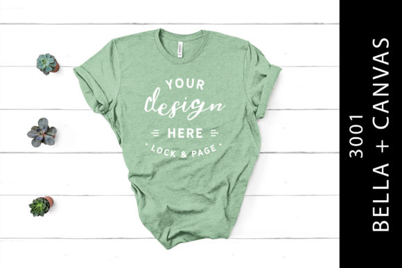 Heather Prism Mint Bella Canvas 3001 Tee Graphic Product Mockups By lockandpage