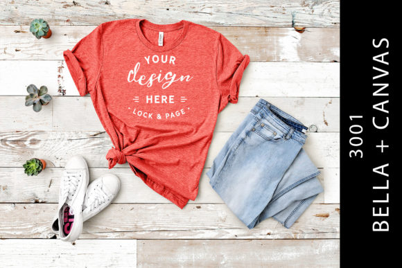 Heather Red Bella Canvas 3001 Mockup Tee Graphic Product Mockups By lockandpage