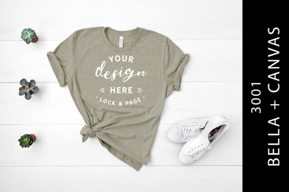Heather Stone Bella Canvas 3001 Flat Lay Graphic By lockandpage