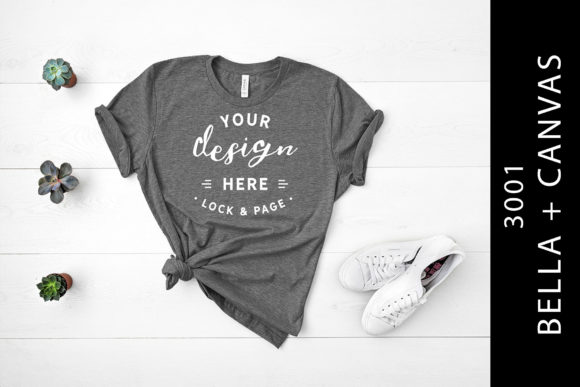 Heather Storm Bella Canvas 3001 Flat Lay Graphic Product Mockups By lockandpage