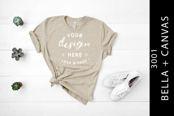Heather Tan Bella Canvas 3001 Mockup Tee Graphic By lockandpage