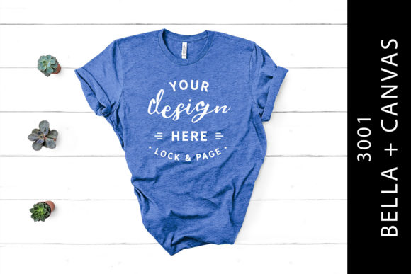 Heather True Royal Bella Canvas 3001 Tee Graphic Product Mockups By lockandpage