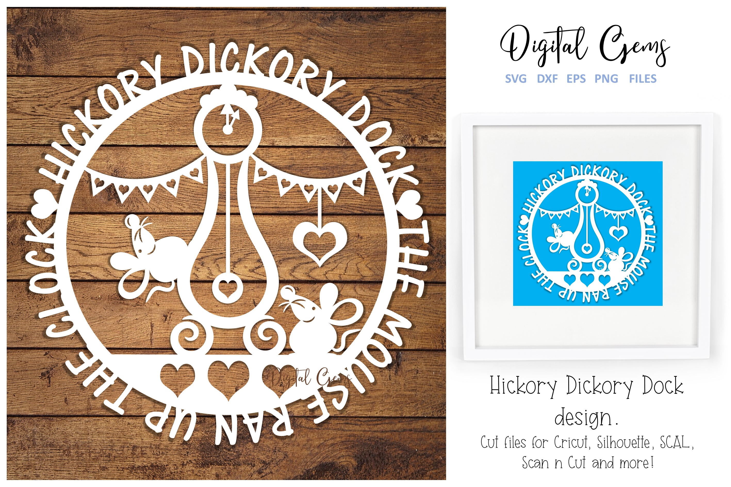 Download Free Hickory Dickory Dock Design Graphic By Digital Gems Creative for Cricut Explore, Silhouette and other cutting machines.