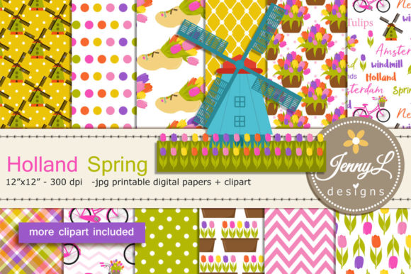 Holland Spring Digital Paper and Clipart Graphic Patterns By jennyL_designs