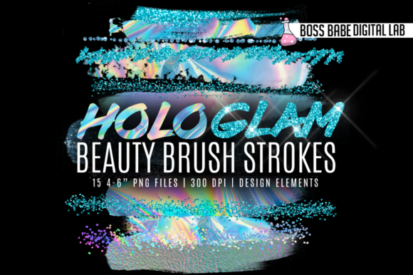 Print on Demand: Hologlam Beauty Brush Strokes Graphic Illustrations By bossbabedigitallab