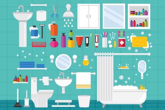 Print on Demand: Home Bathroom Clip Art Set Graphic Illustrations By Running With Foxes
