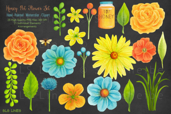 Download Free Honey Pot Flowers Bees Watercolors Graphic By Sls Lines for Cricut Explore, Silhouette and other cutting machines.