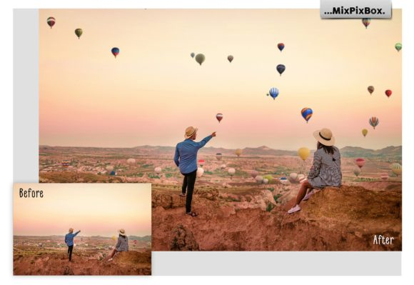 Print on Demand: Hot Air Balloon Overlays Graphic Layer Styles By MixPixBox - Image 1