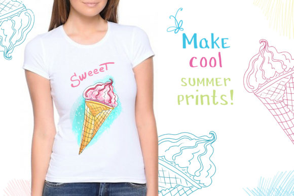 Print on Demand: Ice Cream - 6 Hand-crafted Illustrations Graphic Illustrations By Zooza Art - Image 2