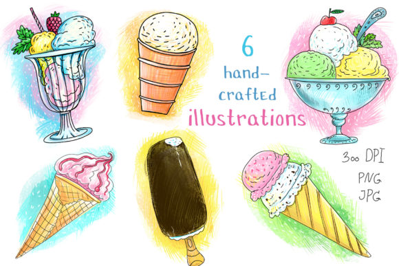 Print on Demand: Ice Cream - 6 Hand-crafted Illustrations Graphic Illustrations By Zooza Art - Image 3