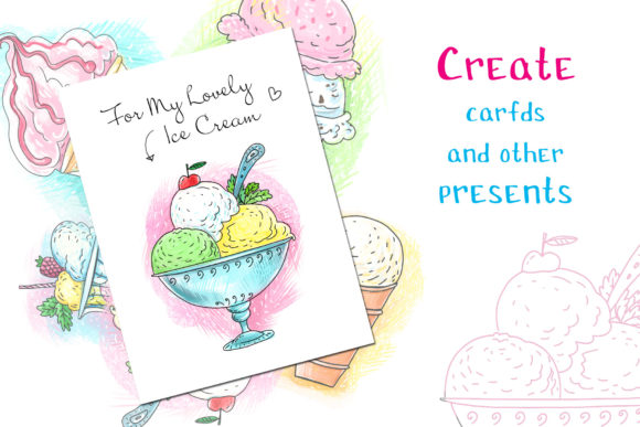 Print on Demand: Ice Cream - 6 Hand-crafted Illustrations Graphic Illustrations By Zooza Art - Image 5
