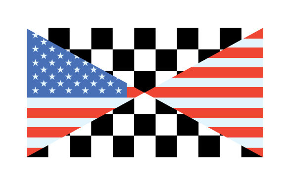 Illustration of an American Flag and a Checkered Flag Crossing Designs & Drawings Craft Cut File By Creative Fabrica Crafts