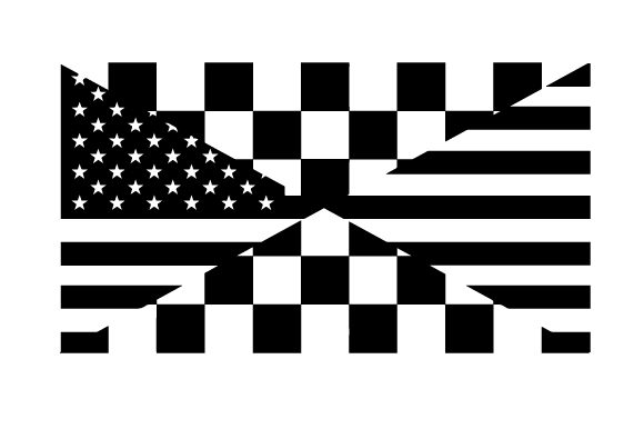 Download Free Illustration Of An American Flag And A Checkered Flag Crossing for Cricut Explore, Silhouette and other cutting machines.