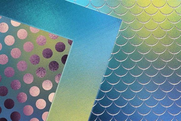 Print on Demand: Iridescent Blue Foil Textures Graphic Patterns By Creative Paper - Image 2