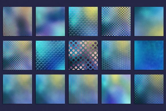 Print on Demand: Iridescent Blue Foil Textures Graphic Patterns By Creative Paper - Image 3
