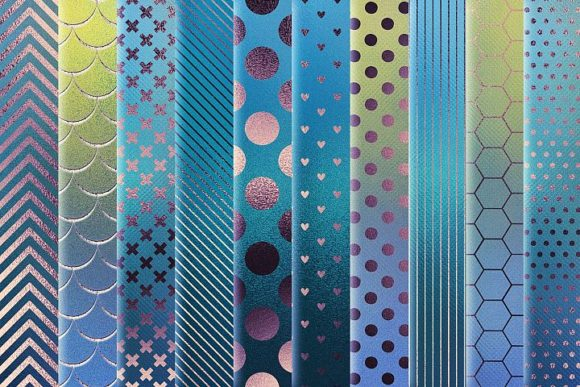 Print on Demand: Iridescent Blue Foil Textures Graphic Patterns By Creative Paper - Image 4