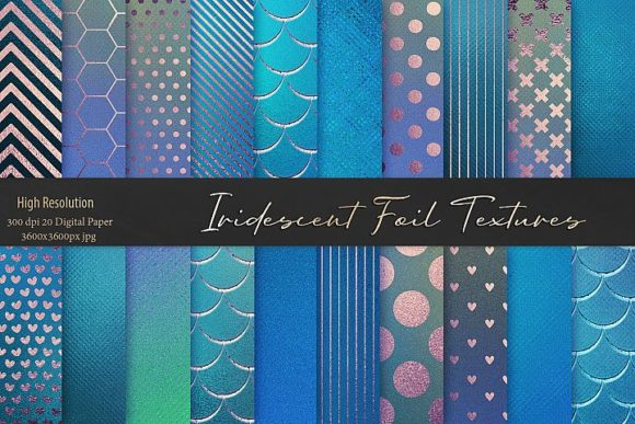 Print on Demand: Iridescent Blue Foil Textures Graphic Patterns By Creative Paper