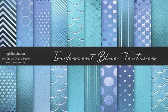 Iridescent Blue and Turquoise Textures