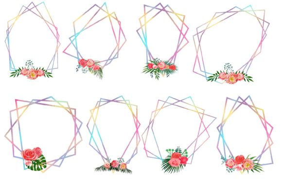 Print on Demand: Iridescent Floral Polygonal Frames Graphic Illustrations By fantasycliparts - Image 2