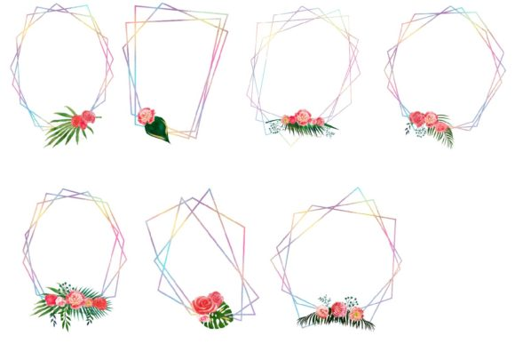 Print on Demand: Iridescent Floral Polygonal Frames Graphic Illustrations By fantasycliparts - Image 3
