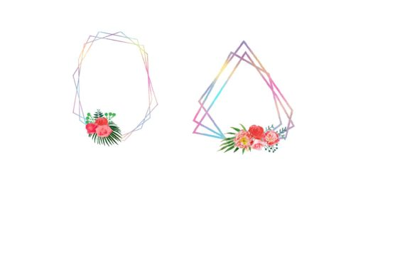 Print on Demand: Iridescent Floral Polygonal Frames Graphic Illustrations By fantasycliparts - Image 4